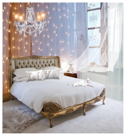bedroom fairy lights chandelier gold bed cat white pastel