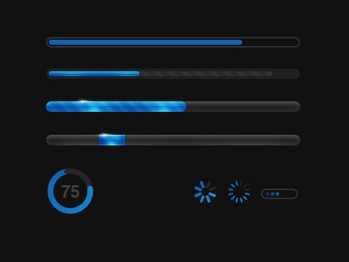 glowing blue progress bars