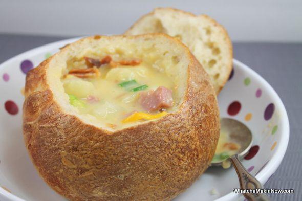 Crock-Pot Cheese Potato Soup from WhatchaMakinNow.com #recipe #crock pot recipe #soup yum yum