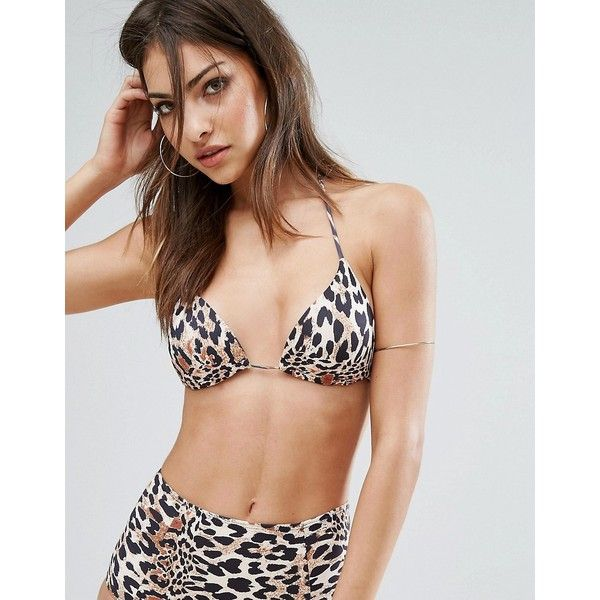 Missguided Mix & Match Leopard Print Triangle Bikini Top (£12) ❤ liked on Polyvore featuring swimwear, bikinis, bikini tops, brown, triangle swim wear, halter bikini tops, triangle swimwear, triangle bikini top and tankini tops