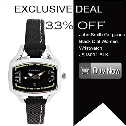 Flaunt this exclusive #wristwatch that will go along with any of your formal or casual dress. The black and silver combination will add up to your personality. Click to buy- http://www.falcon18.com/John-Smith-Gorgeous-Black-Dial-Women-Wristwatch-JS13001-BLK.htm?1033551/WC34407835