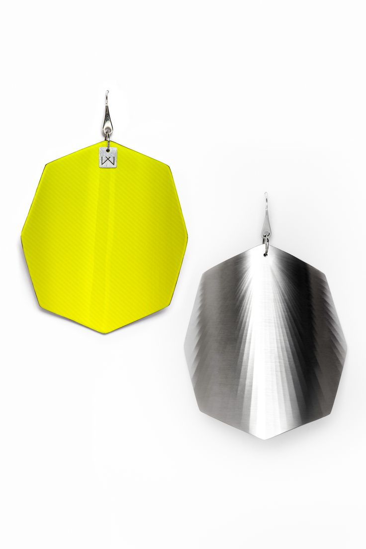 Vanda Ferencz rhodium pleated yellow octagonal radial earrings with glass fiber.