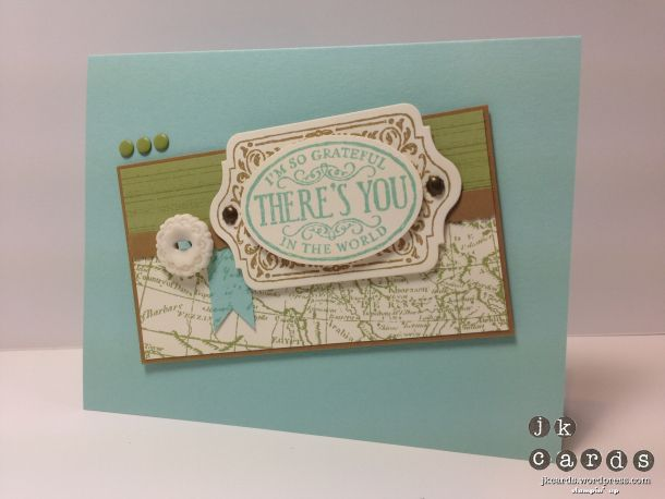Stampin' Up!, PCCCS057, Chalk Talk, Gorgeous Grunge, Notable Notions, World Map Background, Chalk Talk Framelits, Extra Large Oval Punch, Small Scallop Rotary Blade, Very Vintage Designer Buttons, Subtles Candy Dots