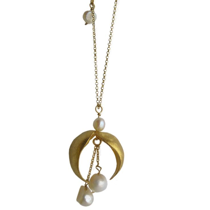 Long silver pendant gold plated  with pearls / designer jewelry