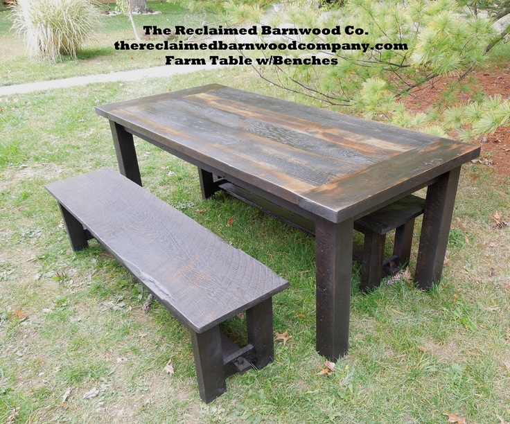 Farm Table W Benches Reclaimed Pinterest