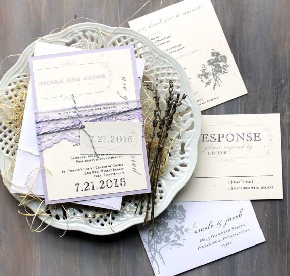 items similar to purple lace wedding invitations lavender wedding invitation lilac and lace elegant wedding invitations purple charmer sample on etsy - Lavender Wedding Invitations