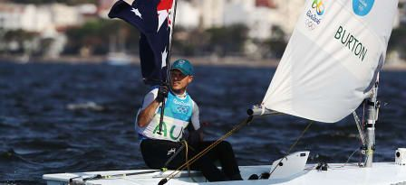 Tom Burton of Australia celebrates winning the gold medal in the Men's Laser class on Day 11 of the Rio 2016 Olympic Games at the Marina da Gloria on August 16, 2016 in Rio de Janeiro, Brazil. © 2016 Getty Images