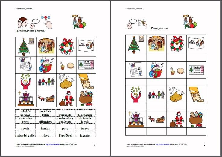MATERIALES - Navidad.    Partiendo del tema de la Navidad, se presentan una serie de propuestas para estas fechas y para trabajar lúdicamente vocabulario, atención, villancicos, motricidad fina, lectoescritura, memoria visual y auditiva, expresión oral…     http://arasaac.org/materiales.php?id_material=619:
