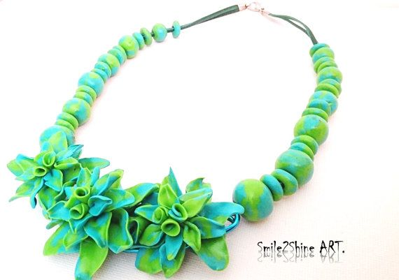 Polymer clay jewelry Clay flower necklace Green by Smile2ShineArt
