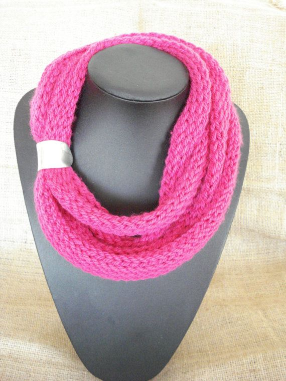 Infinity scarf Knitted scarf necklace Winter scarf Arm by Poppyg