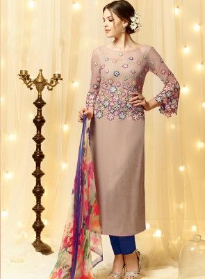 #Mauve and #Blue Embroidered #PantStyle #Suit Is on cotton satin fabric with fine embroidery, pure cotton bottom and pure chiffon dupatta.