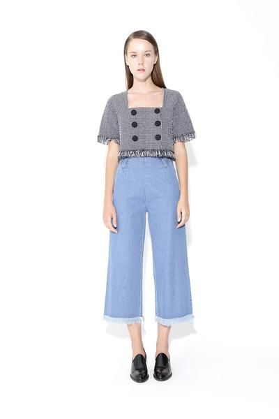 High Waisted 3/4 Wide Leg Culottes Jeans With Frayed Hem