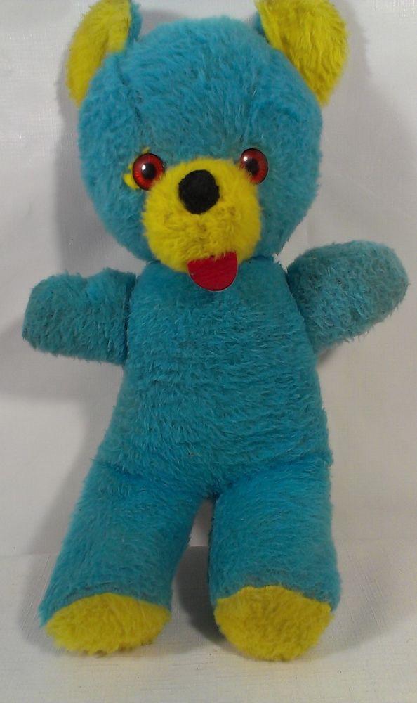 "Teddy Bear Plush Stuffed ANimal Toy Orange Eyes Felt Red Tongue 15"" Vintage Blue #na"