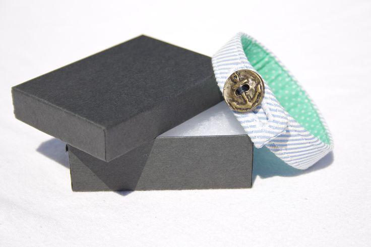 Material Anchor Bracelet - Seafoam Blue & White