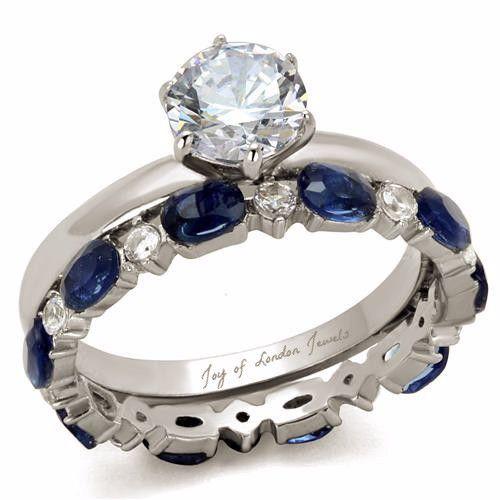 1.4CT Round Cut Solitaire Russian Lab Diamond Blue Sapphire Bridal Set Wedding Bands