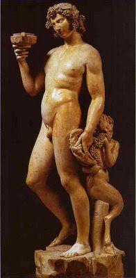 Baco, uma estátua feita em mármore que mede 203 cm de altura, foi encomendada pelo banqueiro e colecionador Jacopo Galli para o seu jardim que queria uma escultura que representasse jovialidade e sensualidade. Baco segura na sua mão esquerda uma pele de leão e um cacho de uvas de onde se alimenta um fauno. A estátua de Baco encontra-se no Museu Nacional de Bargello em florença, Itália.