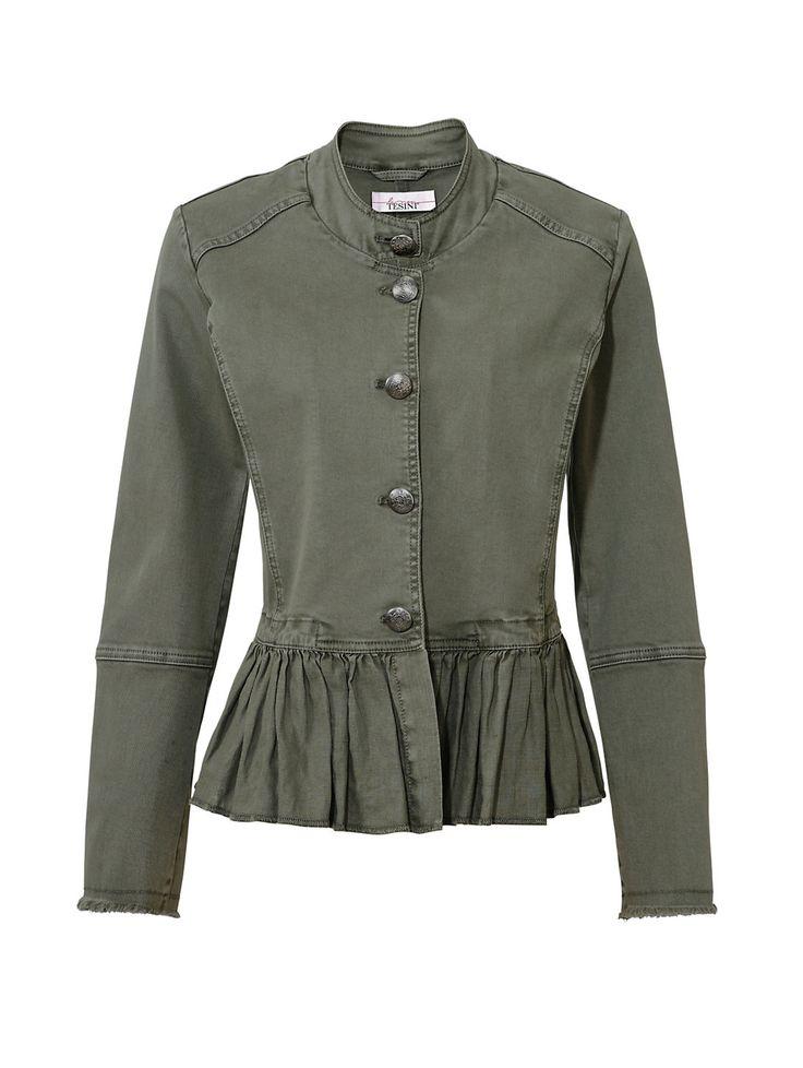 Linea Tesini by Heine kort jasje olijfgroen blazer colbert jacket olive green