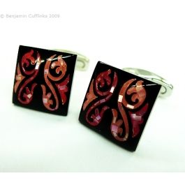 Red Tone Mother of Pearl Swirls Square Cufflinks - Square cufflinks with beautifully crafted dyed mother of pearl inserts.  These are classified as red, but have pink and orange tones, depending on the dying procedure.