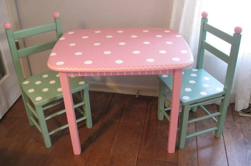 Pink and green polka dot kids table and chair set