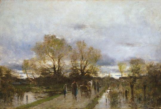 Mednyánszky, László, Hungarian artist, 1852-1919  - Swampy land (Sloppy road, Land), 1880s