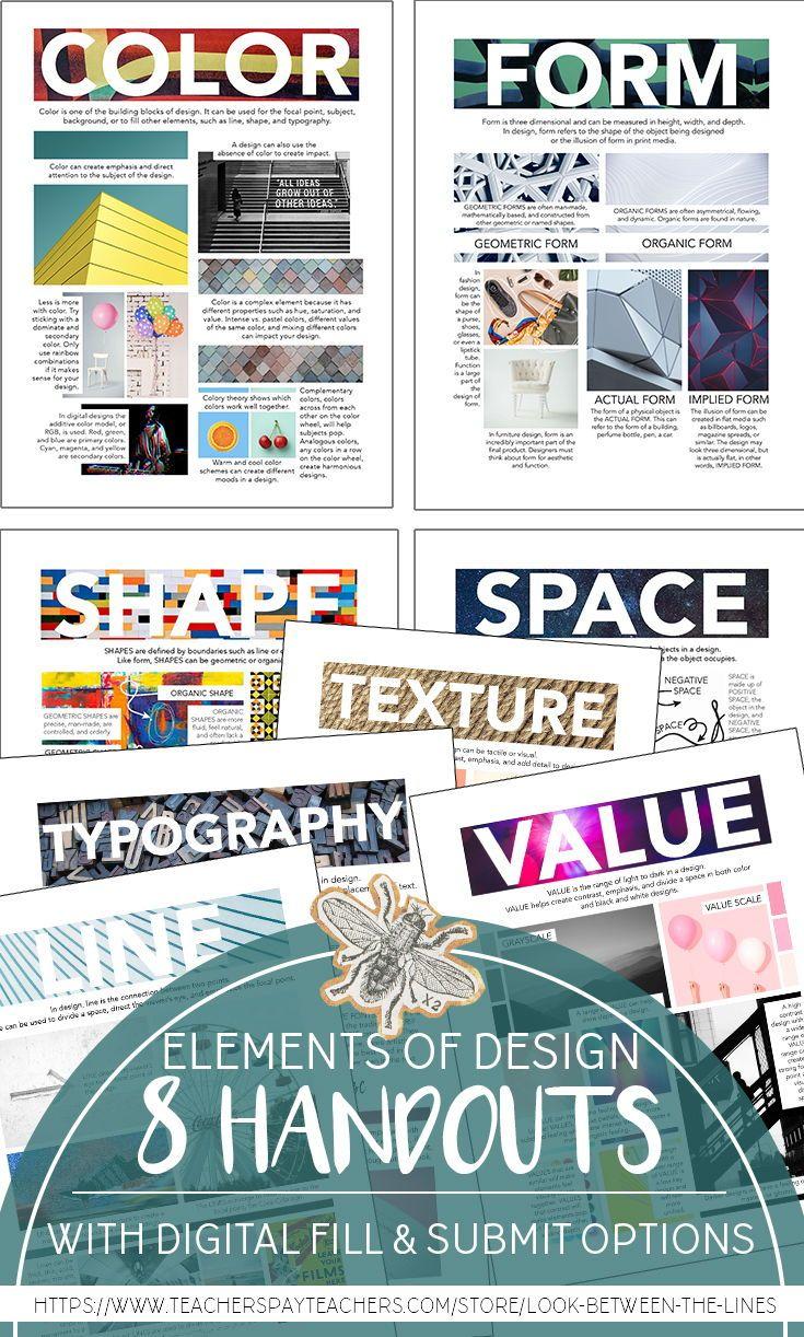Elements Of Design Handout Bundle Elements Of Design Visual Art Teacher Visual Art Lessons
