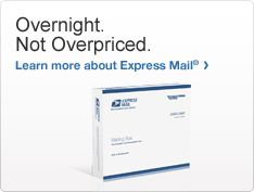 Overnight. Not Overpriced. Learn more about Express Mail. Image of Express Mail shipping box >
