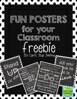 These posters will look great framed and hung in your classroom!  I would love for you to leave feedback after downloading.  Also, these posters are available in colored backgrounds to match your classroom decor.  Simply, go to my custom categories/chalkboard posters.  Thanks so much! Enjoy!