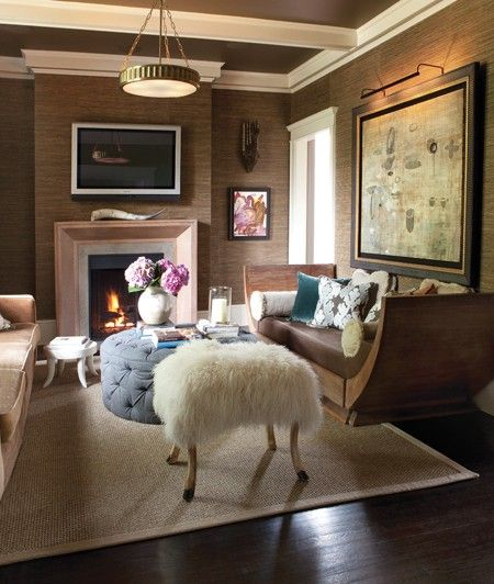 I'm thinking the headless sheep ottoman would scare someone visiting. : Ceilings Beams, Idea, Living Rooms, Interiors Design, Wallpaper, Ottomans, House, Families Rooms, Stools