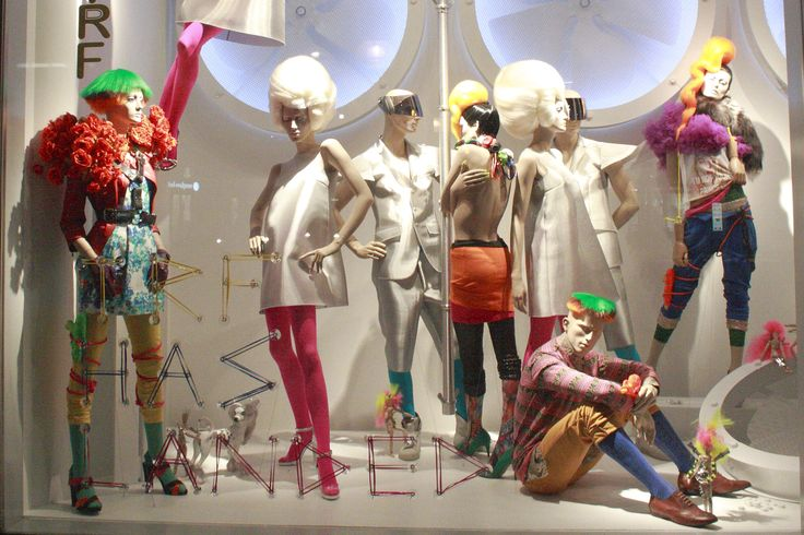 Zara TRF, Oxford Street mix up the coloured fashion with white and trow in some cool bright wigs.