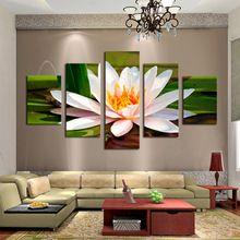 ücretsiz nakliye 5 adet beyaz çiçekler modern ev duvar dekor tuval resim sanatını hd baskı boya tuval sanat çerçevesiz(China (Mainland))
