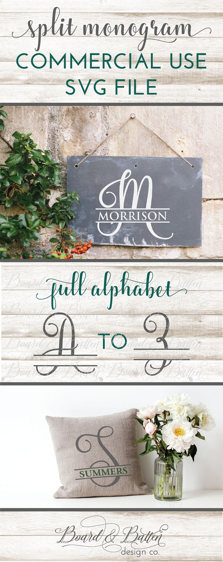 Grab this cute script split monogram SVG File for Personal & Commercial Use today! Split Letter Monograms are a great versatile option for personalizing anything with your Silhouette or Cricut. They make great wooden signs, throw pillows, wall decals, mailbox decals, and more. Comes in SVG, EPS, DXF and PNG formats.