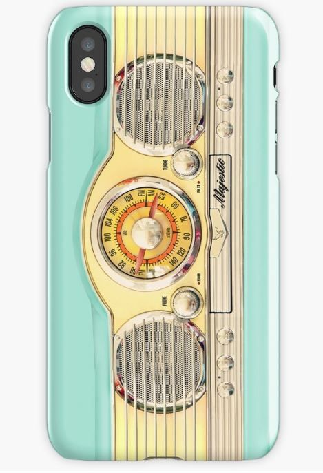 Blue teal retro classic old radio iPhone Cases & Skins #iphonecase #iphonex #case #radio #cassette #tape #steampunk #chrome #gold #blue #old #vintage #retro #classic #majestic #communicator #old #school #electronic #blueteal #robot #droid