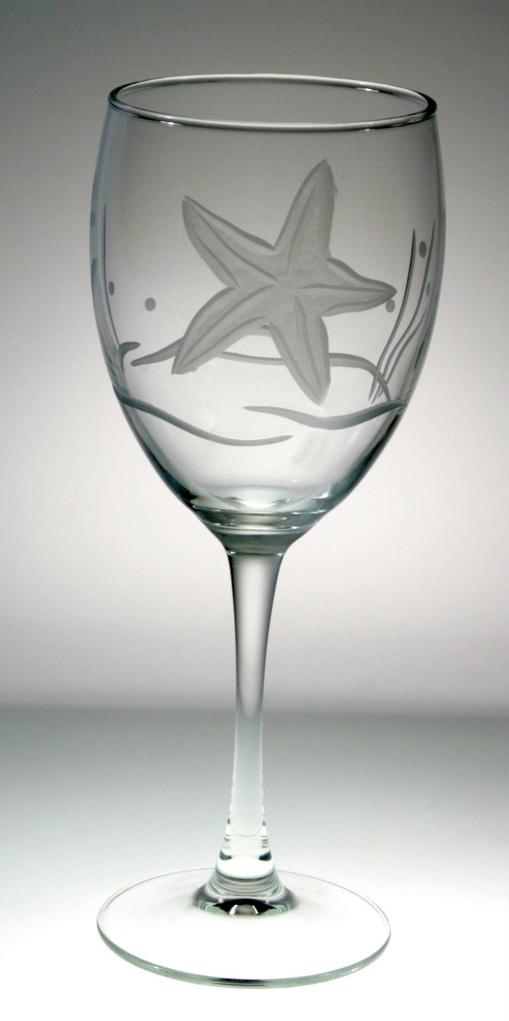Enjoy our classic starfish pattern so artfully etched on 10.5 oz. wine goblets, sold in boxed sets of 4. Our Starfish design offers a different seascape pattern on every shape. Seagrass, starfish, bub