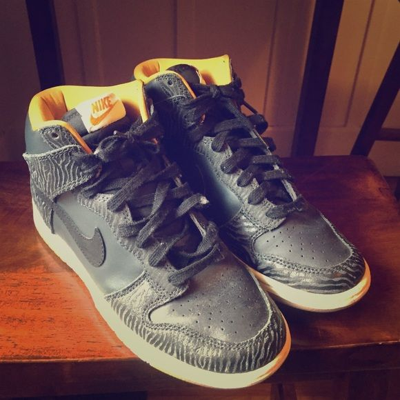 Nike women's high top,never worn Black and slight zebra print women's high top sneaker, 7.5 Nike Shoes Athletic Shoes