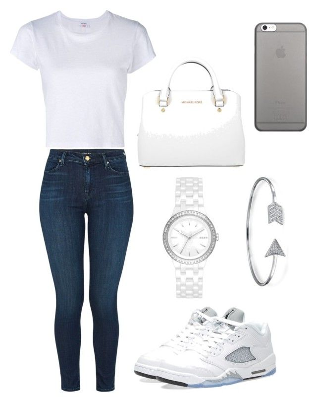 """How To Wear Air Jordan Retro 5 Low GS"" by lowkeyyfashion on Polyvore featuring NIKE, RE/DONE, J Brand, Native Union, Michael Kors, DKNY and Bling Jewelry"