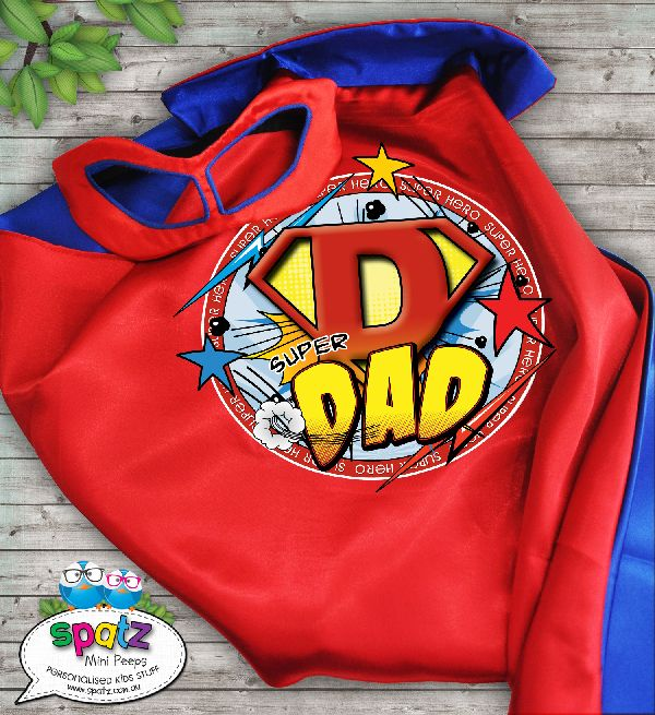 Personalised Super Hero Dads Cape - Blue / Red