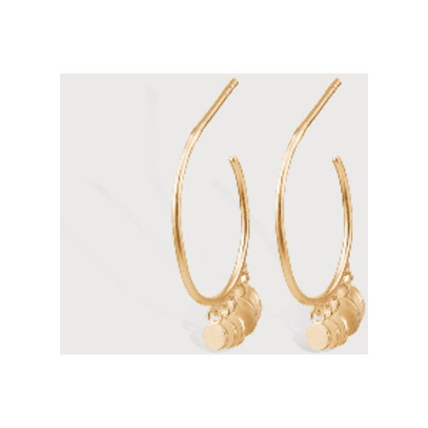 Pernille Corydon Mini Coin Gold Creoles (€55) ❤ liked on Polyvore featuring jewelry, coin jewellery, gold jewelry, gold coin jewelry, gold jewellery and yellow gold jewelry