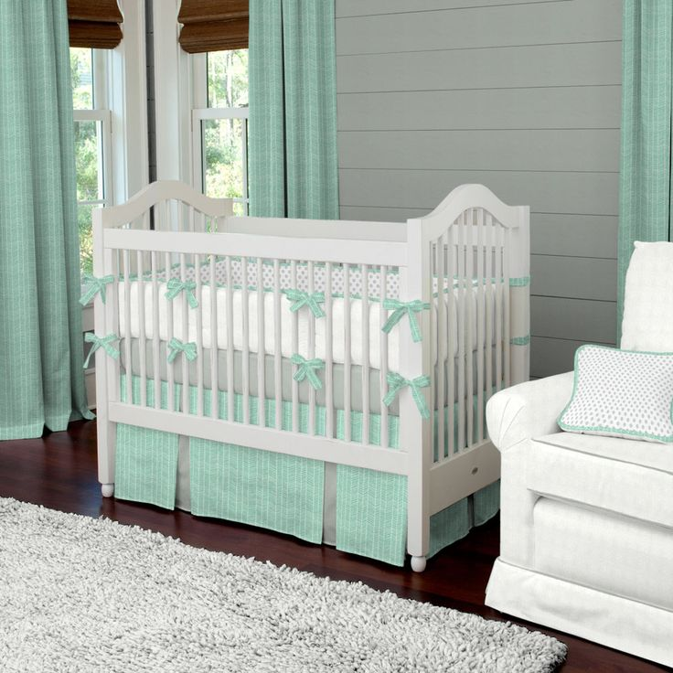 Mint Herringbone Crib Bedding | Neutral Baby Bedding | Carousel Designs
