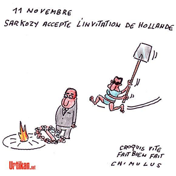 Cérémonie : entre Sarkozy et Hollande, la paix du 11 Novembre - Dessin du jour - Urtikan.net