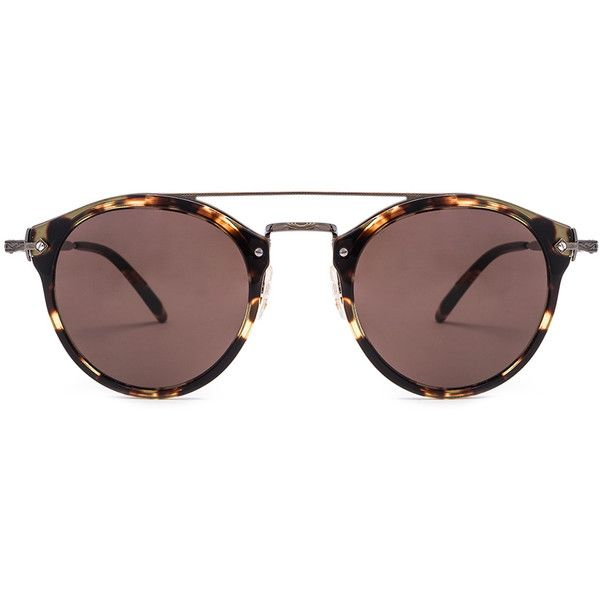 Oliver Peoples Remick Sunglasses (€390) ❤ liked on Polyvore featuring accessories, eyewear, sunglasses, glasses, sunnies, oliver peoples glasses, engraved glasses, oliver peoples, lens glasses and oliver peoples eyewear