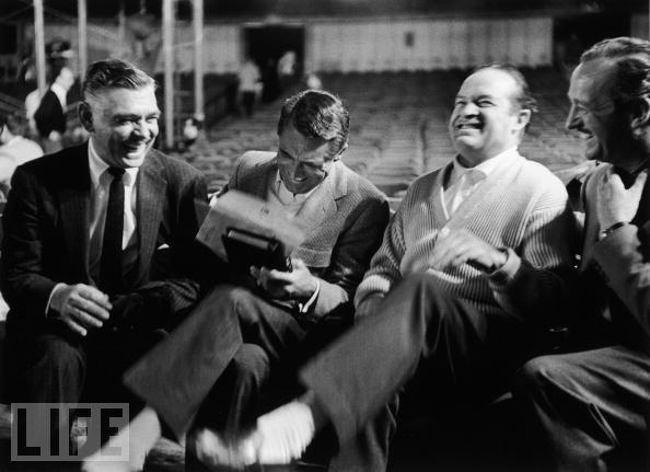 Clark Gable, Cary Grant, Bob Hope, David Niven. 1958 Academy Awards rehearsal.