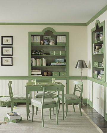 Debating if I leave my trim white when I paint or do something cool like this.    http://www.marthastewart.com/sites/files/marthastewart.com/images/content/pub/ms_living/2003Q3/a100194_0903_greentrim1_xl.jpgCabinets, Decor, Dining Room, White Walls, Colors, Green Offices, Martha Stewart, Families Room, Green Room