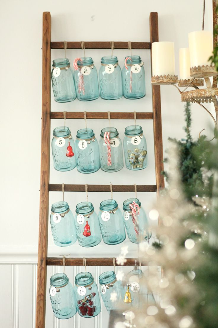 Beautiful Christmas decor using a Vintage Ladder for a Mason Jar Advent Calendar. So festive and fun! See more on http://ablissfulnest.com/ #Christmas #Advent #ChristmasDecor
