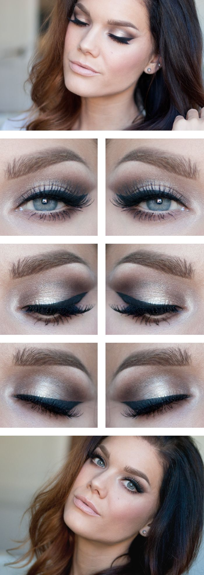"Today's Look : ""Move"" -Linda Hallberg (Today's look features a very wearable color that can be worn anytime, and that is the color taupe. In this case I believe it's different shades of taupes. With a beautifully winged eye and a nude lip, you're all set.)"