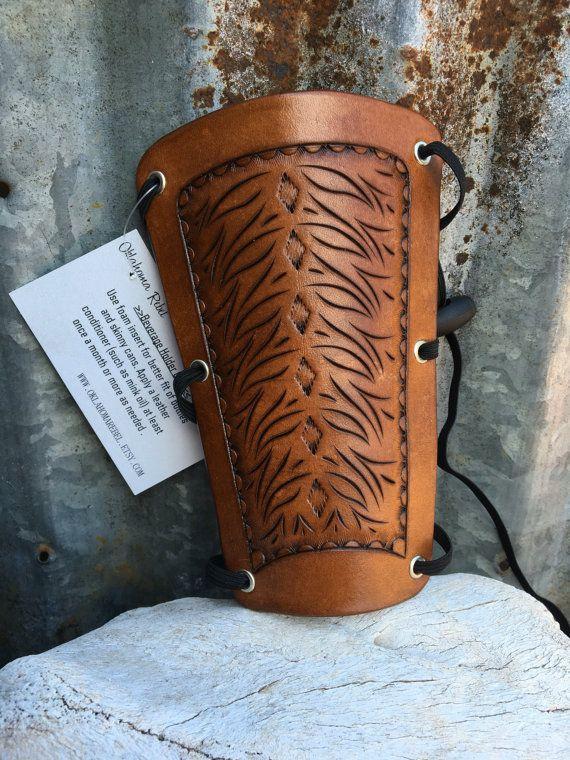Adjustable Leather Tooled Archery Armguard door oklahomarebel