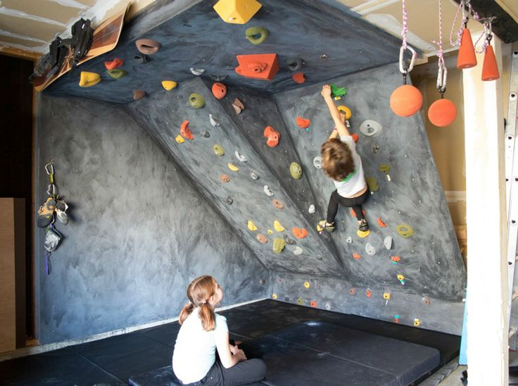 DIY rock climbing wall for kids. Tot could tape his own routes. CUTE!!