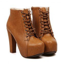 $17.70 Elegant Women's Short Boots With Solid Color and High Heel Design