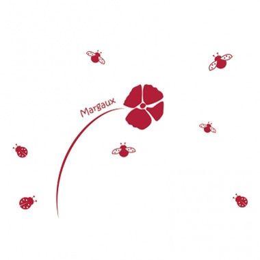 Cadeau malin: Stickers personnalisés fleur et coccinelles