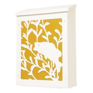 Blink Shadowbox Bass Vertical Wall Mount Mailbox in White and Gold by Blink Manufacturing. $145.00