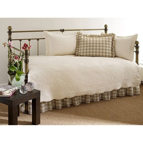100% Cotton 5-Piece Daybed Bedding Set in Ivory